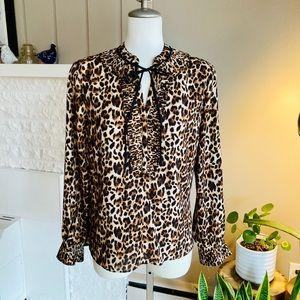 Cheetah Print Tunic Blouse With Neck Tie & Ruffle